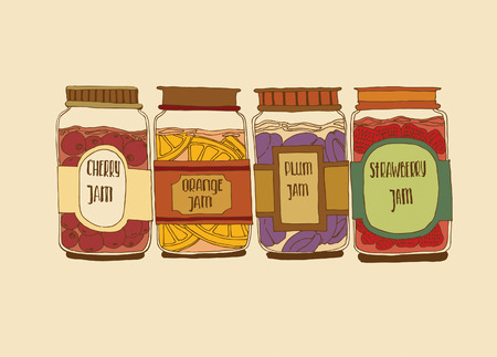 paint container: vector illustration. set of jars with jam Illustration
