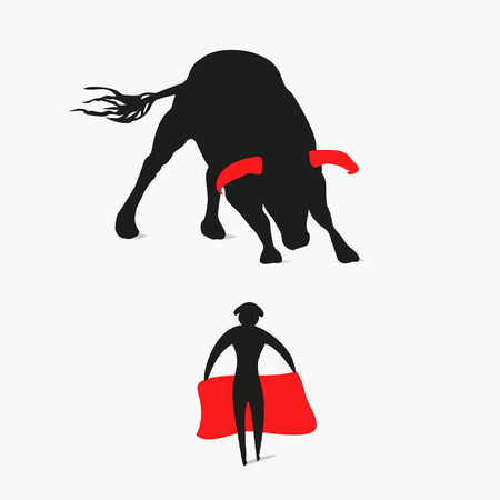 bull and matador, bullfighter, vector graphics, eps 10