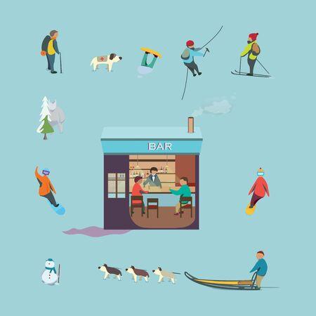 freeride: vector graphics, modern flat illustration Illustration