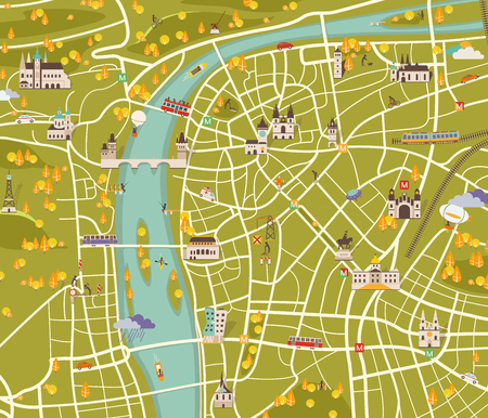 vector graphics, modern city map