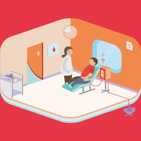 transfusion: vector graphics, modern isometric illustration Illustration