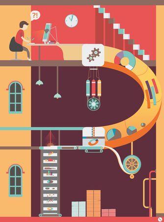 Colorful design office, vector graphics, modern flat illustration, eps 10 Vetores