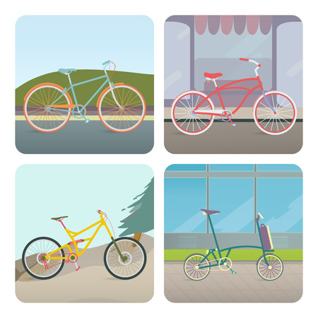 cruiser: Four bicycles: Mountain, Racing, Folding and Cruiser bicycle Illustration