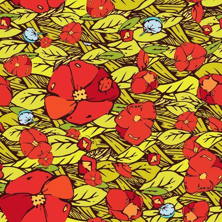field flowers: Modern hand drawn illustration, vector graphics, eps 10