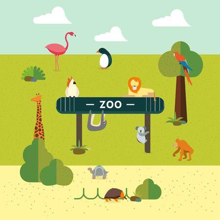 animaux du zoo: ensemble des animaux de style plat, des graphiques vectoriels, eps 10