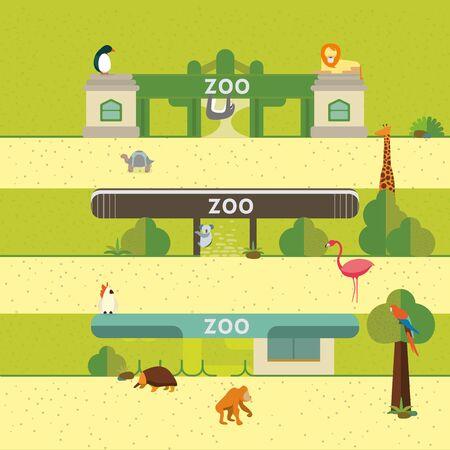zoologico: Conjunto del animal del estilo plano, gráficos vectoriales, eps 10