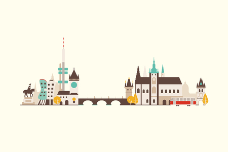 prague: Vector graphics, flat city illustration, eps 10
