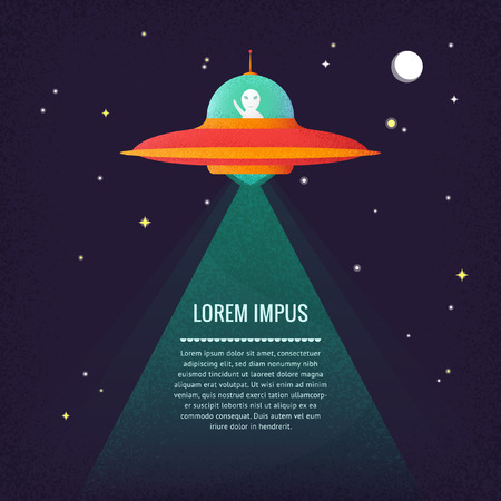 Flat vector graphics with text, night sky and ufo, eps 10 Illustration