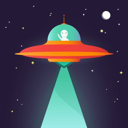 unidentified: Flat vector graphics, night sky and ufo, eps 10