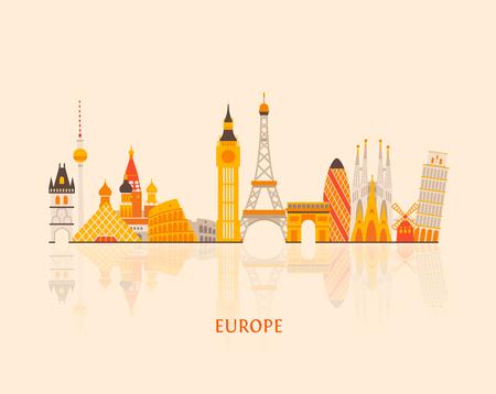 european cities: Vector graphics, European cities illustration, eps 10