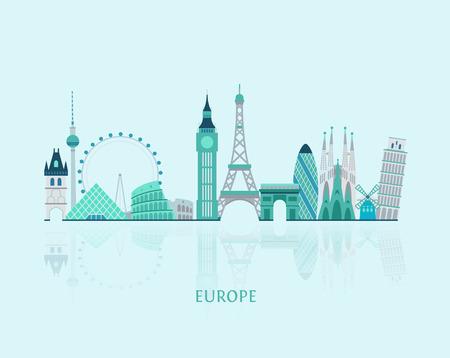 Vector graphics, European cities illustration, eps 10