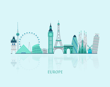 Vector graphics, European cities illustration, eps 10