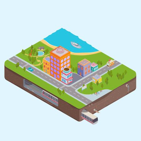 zoologico: Edificios 3D isom�trica del vector, el zool�gico, el mar y metro