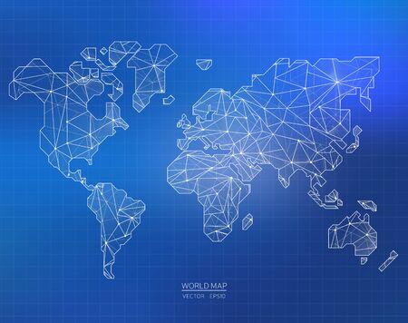communicatie: Kaart in de veelhoekige stijl, vector graphics, eps 10