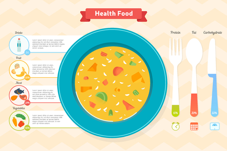 Chart and icons, healthy food, vector graphics, eps 10 Illustration