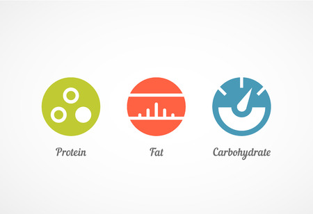 carbohydrates: Flat style icons set, vector graphics, eps 10 Illustration