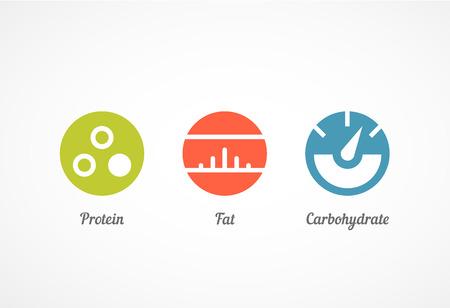 gordos: iconos planos del estilo fijados, gráficos de vector, EPS 10