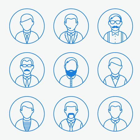 male teacher: Hipster, waiter, businessman, teacher faces set, vector graphics