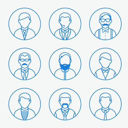 Hipster, waiter, businessman, teacher faces set, vector graphics