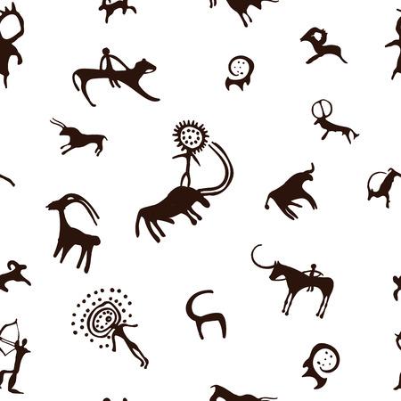 HOMBRE PINTANDO: Cueva de pintura sobre fondo blanco, gráficos vectoriales, eps 10