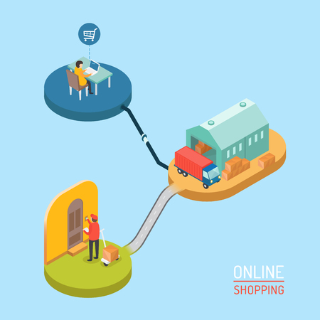 online shopping: 3d isometric design vector illustration, eps 10 Illustration
