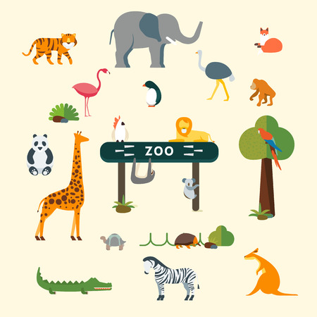 safari animals: vector graphics, modern flat illustration, eps 10