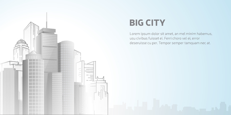 boston skyline: Skyscrapers on white background, abstract Boston skyline