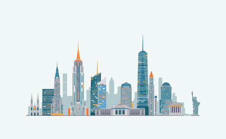 manhattan skyline: Vector graphics, flat city illustration, eps 10