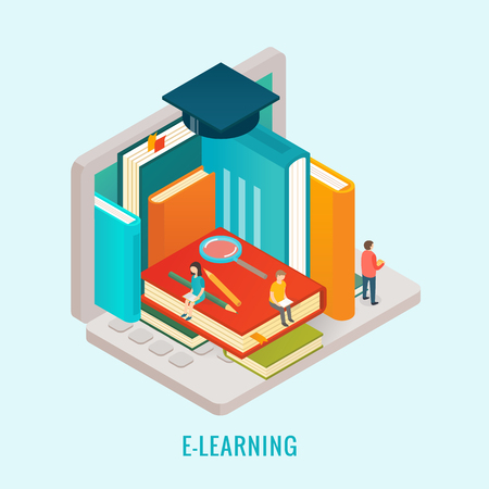 internet education: 3d isometric design vector illustration, eps 10 Illustration