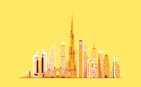 Vector graphics, platte stad illustratie, eps 10 Stock Illustratie