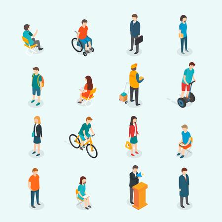 personas discapacitadas: 3D isométrico ilustración de diseño vectorial, eps 10