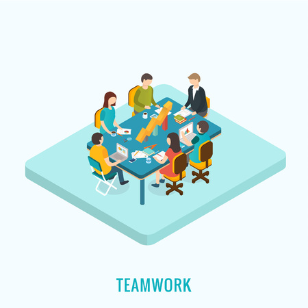 teamwork cartoon: 3d isometric design vector illustration, eps 10 Illustration