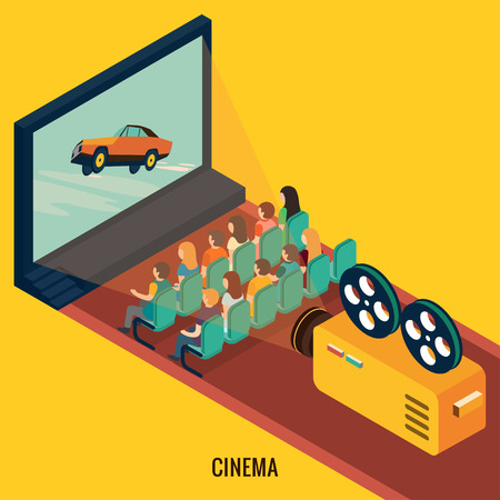 movie projector: 3d isometric design vector illustration, eps 10 Illustration