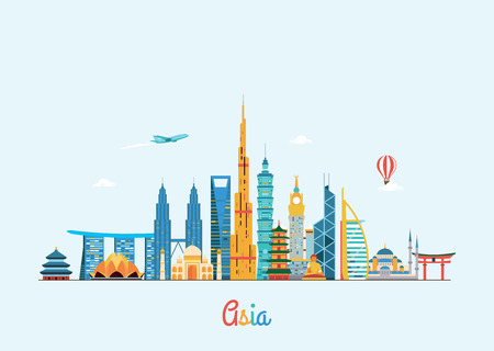 shanghai skyline: Vector graphics, flat city illustration