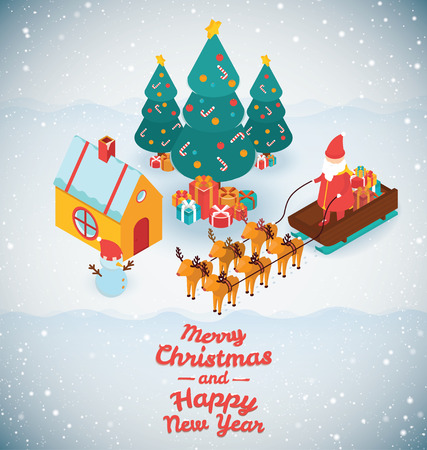 santa claus cartoon: 3d isometric design vector illustration, eps 10 Illustration