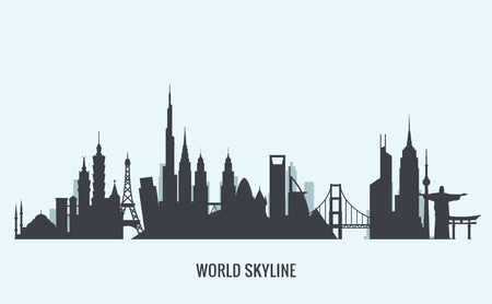 new york skyline: Vector graphics, flat city illustration, eps 10