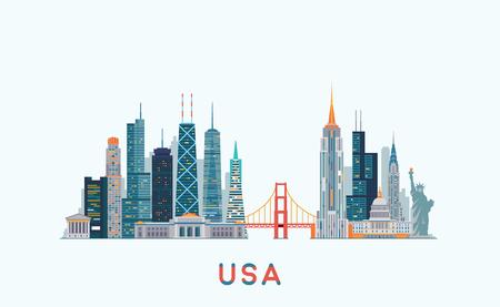 silueta: Los gráficos vectoriales, ilustración plana de la ciudad, eps 10 Vectores