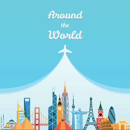 around the world: Vector graphics, flat city illustration, eps 10