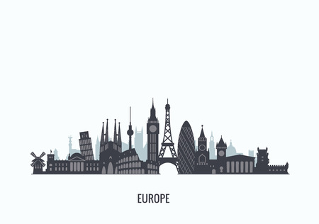 landmarks: graphics, flat city illustration Illustration
