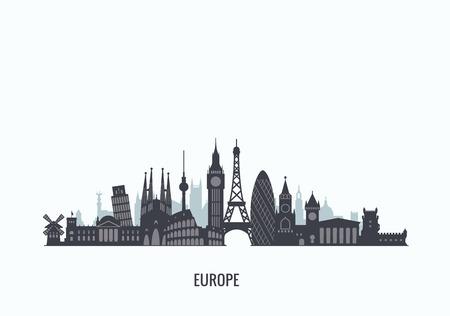 the old architecture: graphics, flat city illustration Illustration