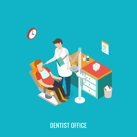 tooth cleaning: 3d isometric design
