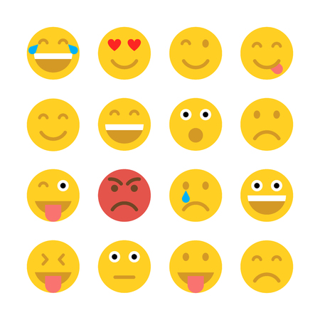 happy faces: graphics, modern flat icon