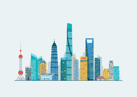 Vector graphics, flat city illustration