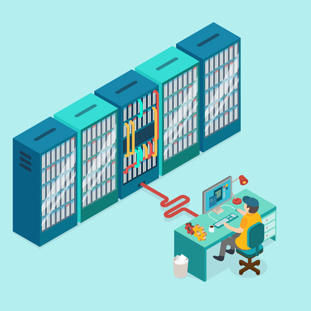data center: 3d isometric design vector illustration