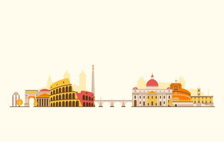 rome: Vector graphics, flat city illustration