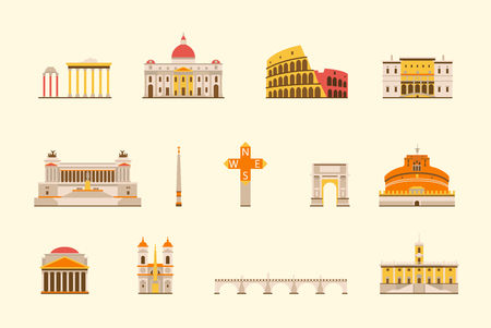 ancient roman: Vector graphics, flat city illustration