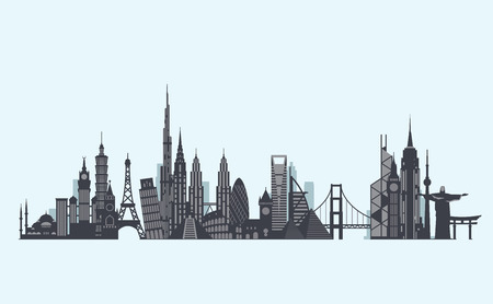 landmarks: Vector graphics, flat city illustration