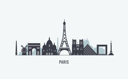 paris skyline: graphics, flat city illustration Illustration