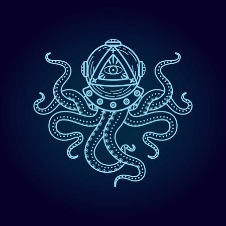illuminati: line style illustration. It can be used in printing design.