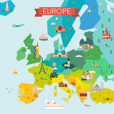Travel and tourism background.  flat illustration Vettoriali